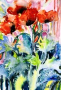 Shirley Paintings - Field Poppies by Trudi Doyle