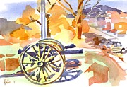 Cannons Metal Prints - Field Rifles in Watercolor Metal Print by Kip DeVore