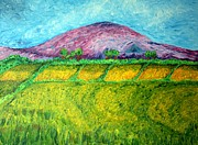 Mountain Valley Drawings - Fields Around Knocklayde by Paul Morgan