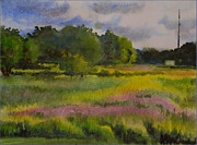 Wet Into Wet Watercolor Paintings - Fields of Wild Flowers by Heidi E  Nelson