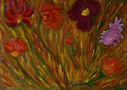 Fields Of Flowers Paintings - Fiery Bunch by Taskin Butt