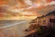 Carolina Posters - Fiery Calm Coastal Sunset Poster by East Coast Barrier Islands Betsy A Cutler