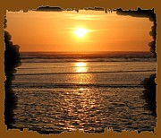 Sunset Seascape Posters - Fiery Cannon Beach Sunset Poster by Will Borden