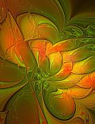 Fractal Art Digital Art Prints - Fiery Glow Print by Amanda Moore