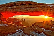 Us National Parks Framed Prints - Fiery Morning Framed Print by Adam Jewell