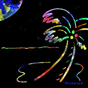Moonglow Posters - Fiery Palm V MOONGLOW Poster by D S Thornton
