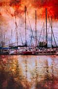 Piers Prints - Fiery Skies Print by Debra and Dave Vanderlaan