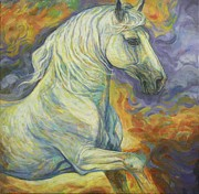White Horse Paintings - Fiery Sky by Silvana Gabudean