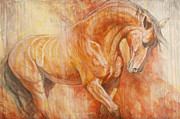 Horses Paintings - Fiery Spirit - Original by Silvana Gabudean