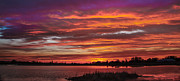 Layered Prints - Fiery Sunset Print by Robert Bales