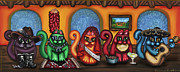 Folk Painting Framed Prints - Fiesta Cats or Gatos de Santa Fe Framed Print by Victoria De Almeida