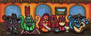 Fiesta Cats Or Gatos De Santa Fe Print by Victoria De Almeida