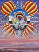 Hot Air Balloon Painting Posters - Fiesta De Colores Poster by Ricardo Chavez-Mendez