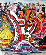 Traditional Spanish Dance Posters - Fiesta Parade Poster by Marilyn Smith