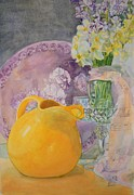 Phlox Painting Prints - Fiestaware and Flowers Print by Holly Banks