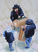 Cavaliers Painting Prints - Fife and drum players at Ste. Marie de la Mer church in Camargue Print by Barbara Jacquin