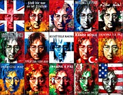 All-star Framed Prints - Fifteen paintings on canvas from the series- John Lennon-The Man Of Peace And The World Framed Print by Vitaliy Shcherbak