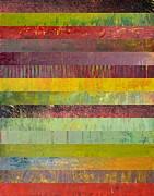 Layered Framed Prints - Fifteen Stripes No. 2 Framed Print by Michelle Calkins