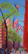 Stars And Stripes Pastels - Fifth Avenue Flags by Marion Derrett