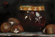 Nuts Paintings - Fig jam and chestnuts by Timi Johnson