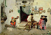 Village Prints - Figaros Shop Print by Jose Jimenes Aranda