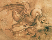 Wild Animal Drawings Prints - Fight between a Dragon and a Lion Print by Leonardo da Vinci