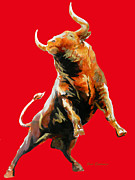 Juan Jose Espinoza - FIGHT BULL CHARGE in red
