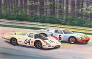 Automotive Art Prints - Fight For The Lead Print by Robert Hooper