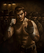 Boxer  Painting Prints - Fight Print by Mark Zelmer
