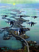 Falcon Mixed Media Originals - Fighter Jet Squadron  by Michael Rucker