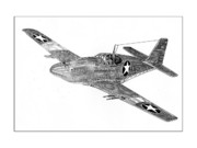 Fighter Drawings - Fighting P 51 by Jack Pumphrey