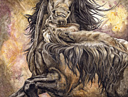 Mustang Paintings - Fighting Stallions by Diana Allison