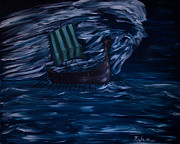 Viking Ship Paintings - Figli di Njord by Isha-Elisa Mariottini