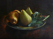 Pewter Paintings - Figs and Pears by Lesly Holliday