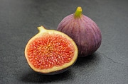 Cut In Half Photos - Figs on slate a plate by Palatia Photo