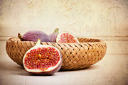 Basket Posters - Figs still life Poster by Jane Rix