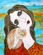Turquoise And Rust Posters - Figure and Owl Painting - Wise Beyond My Years Poster by Laura  Carter