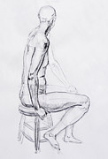 Naked Drawings Posters - Figure Drawing Study V Poster by Irina Sztukowski