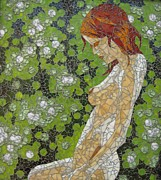 Figure In Front Of Green Spots Print by Rachel Van der pol