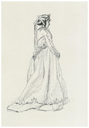 Monet Drawings Framed Prints - Figure of a Woman Framed Print by Claude Monet