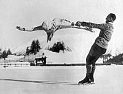 Figure Skating Photos - Figure Skating Merry-Go-Round on the Ice by Underwood Archives