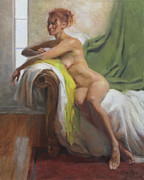 Chaise Painting Posters - Figure with Chartreuse Scarf Poster by Anna Bain