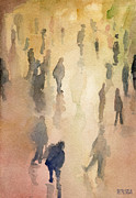 Urban Watercolour Framed Prints - Figures Grand Central Station Watercolor Painting of NYC Framed Print by Beverly Brown Prints