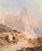 Donkey Digital Art Metal Prints - Figures in a Village in the Dolomites Metal Print by Franz Richard Unterberger