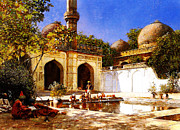 High Society Prints - Figures In The Courtyard Of A Mosque Print by MotionAge Art and Design - Ahmet Asar