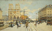 Building Exterior Art - Figures on a Sunny Parisian Street Notre Dame at left by Eugene Galien-Laloue