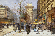 Shop Front Prints - Figures on Le Boulevard St. Denis at Twilight Print by Eugene Galien-Laloue