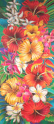 Silk Paintings - Fiji Flowers III by Maria Rova