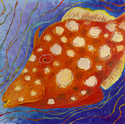 Whimsical Glass Art Prints - Filefish Print by Anna Skaradzinska