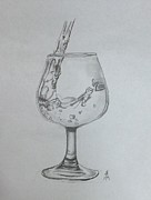 Pouring Wine Drawings - Fill My Glass by Shelby Rawlusyk